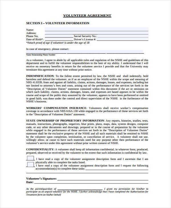 volunteer agreement form