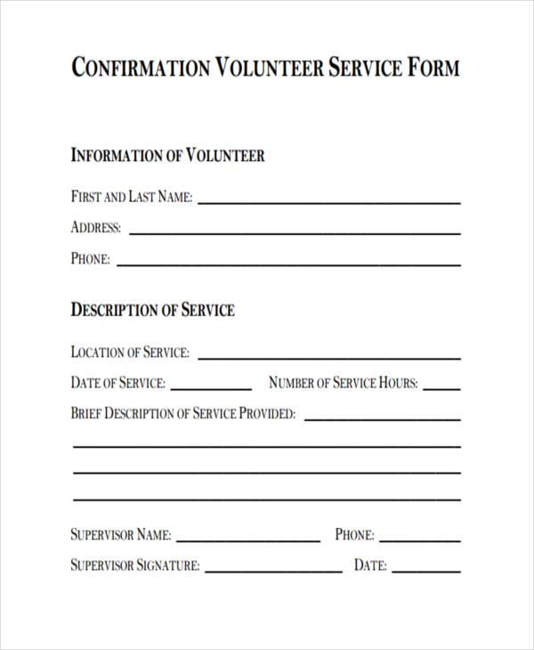 volunteer service confirmataion