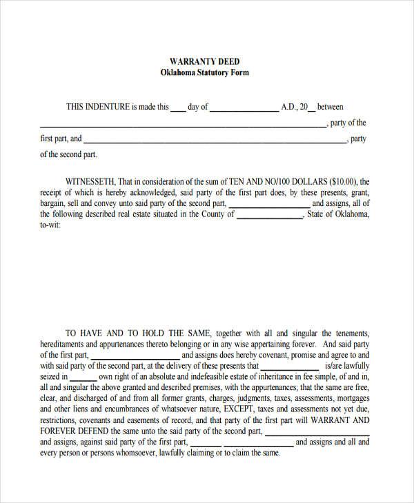 warranty deed statutory