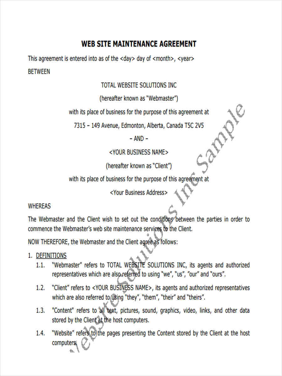 12+ Maintenance Agreement Form Sample - Free Sample, Example ...