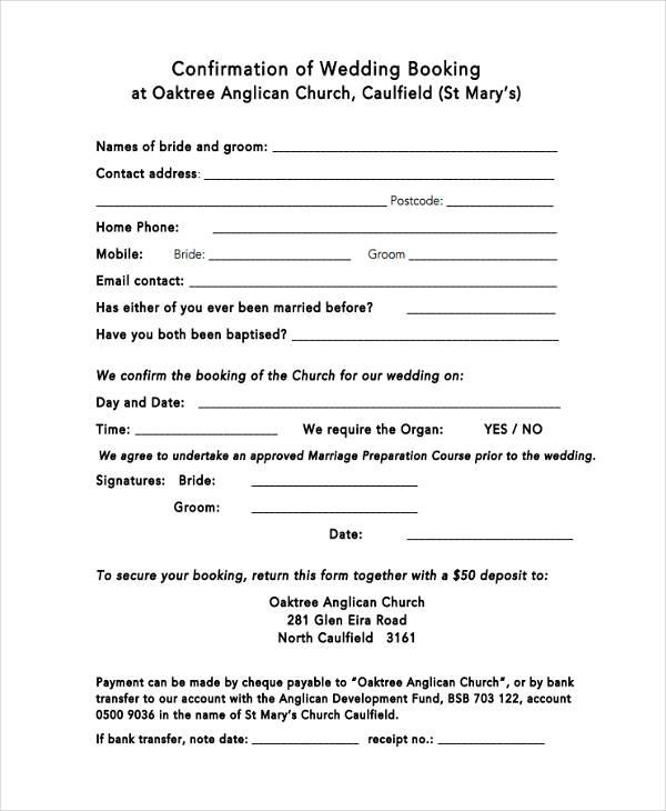 wedding booking confirmation form