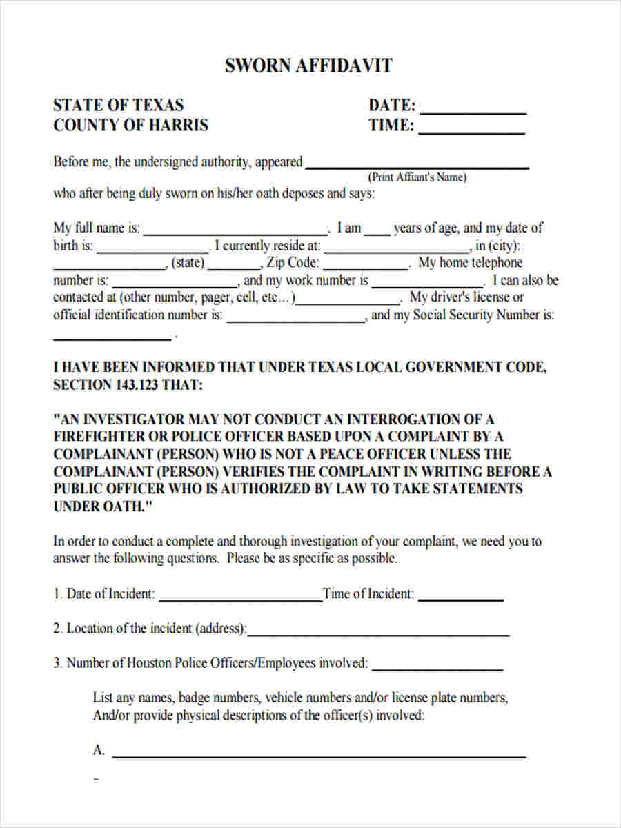 16  witness statement form template
