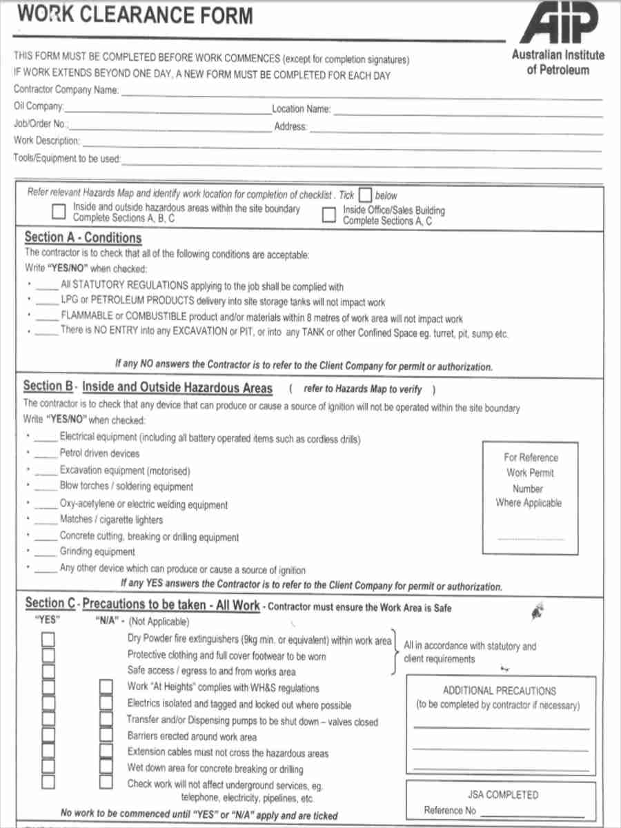 work clearance form