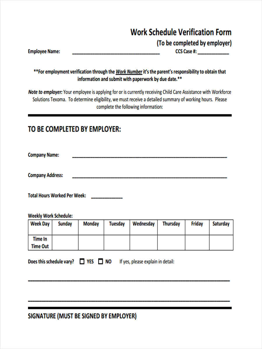 free 11  work verification forms in samples  examples  formats