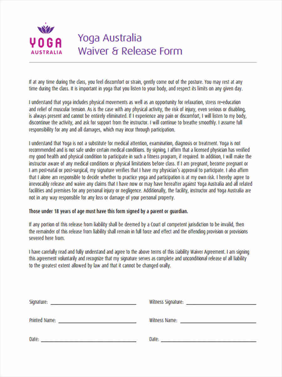 6 Yoga Waiver Forms Samples Free Sample Example Format Download – Waiver of Liability Form Free