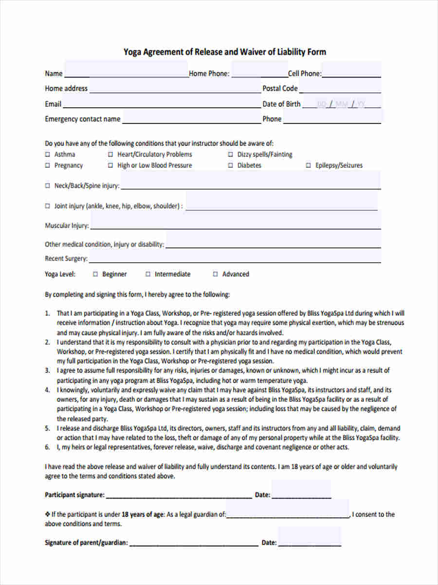 6 Yoga Waiver Forms Samples Free Sample Example Format Download Yoga Waiver  Liability Yoga Waiver Forms