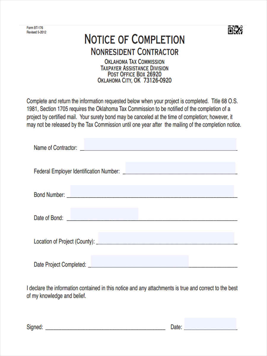Attractive Contractor Notice Of Completion