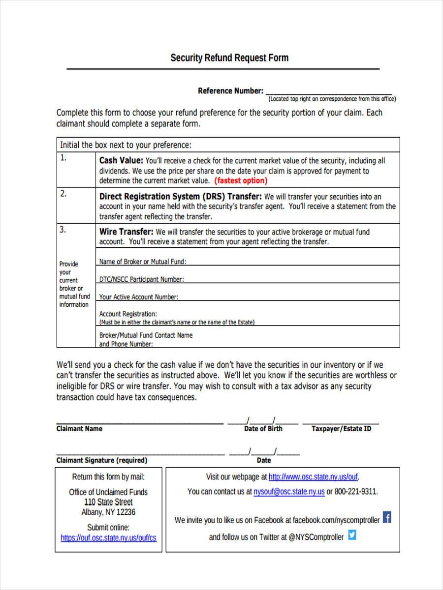 curity refund request