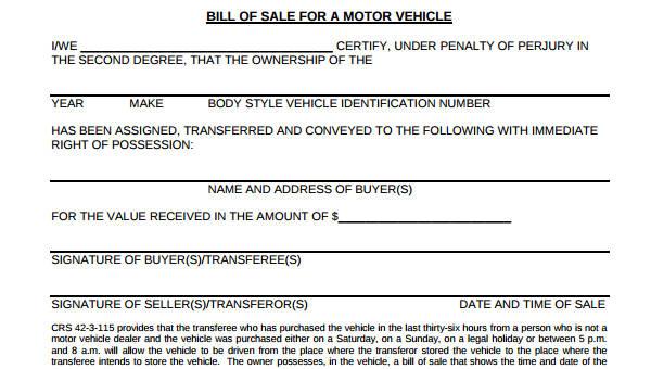 write a bill of sale