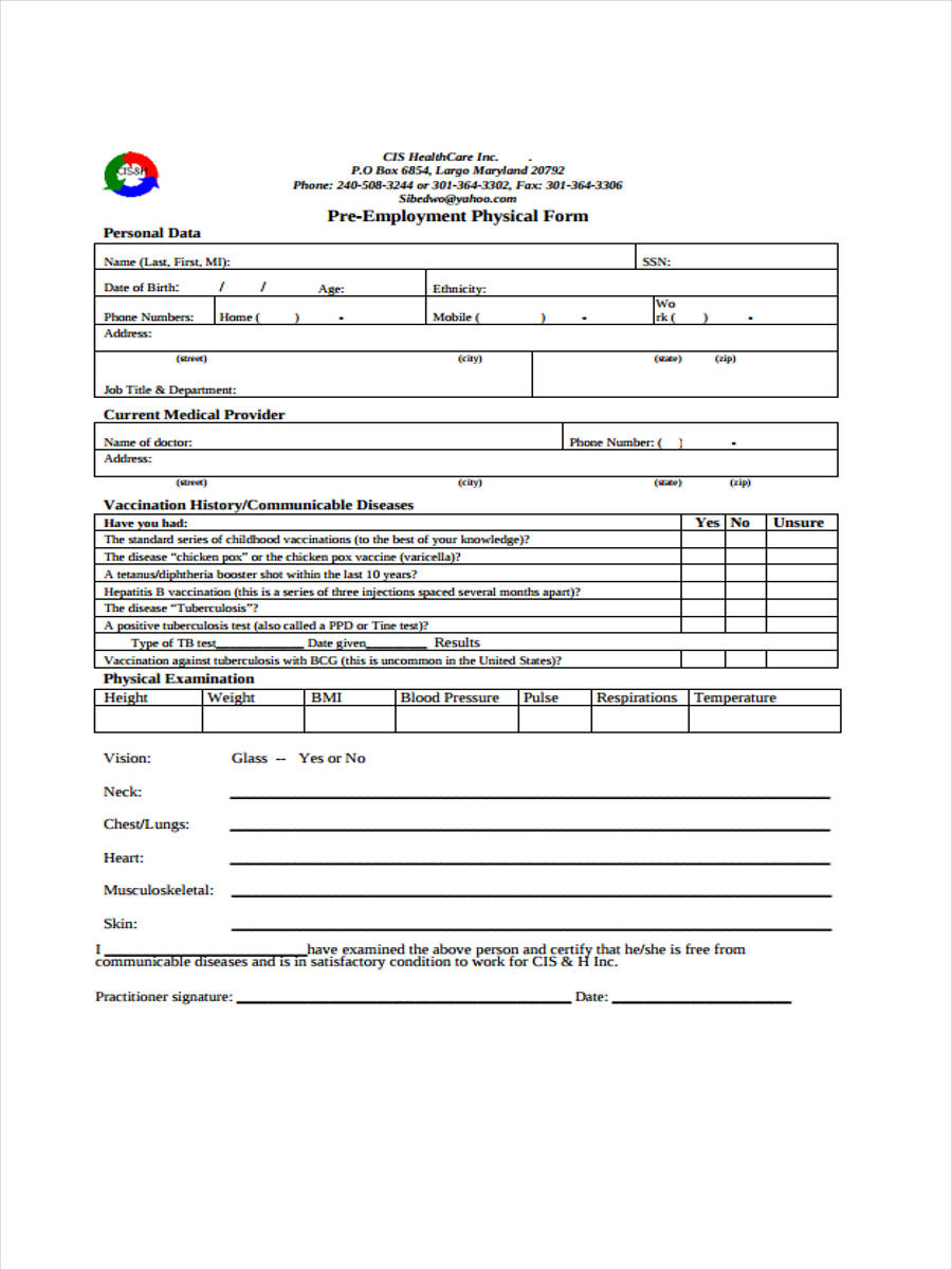 5 employment physical form sample free sample example format