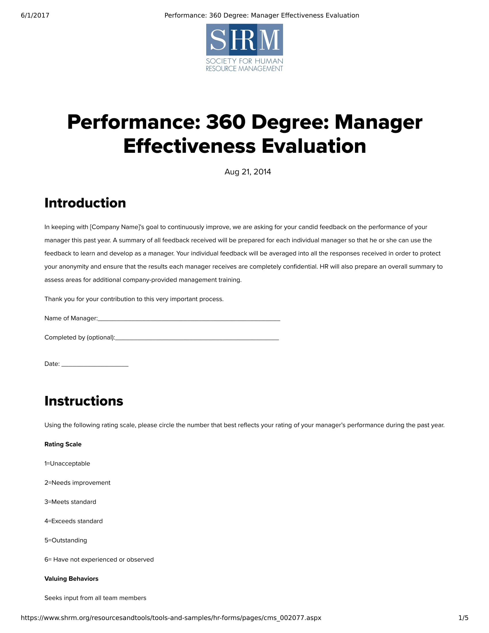 360 degree manager effectiveness evaluation