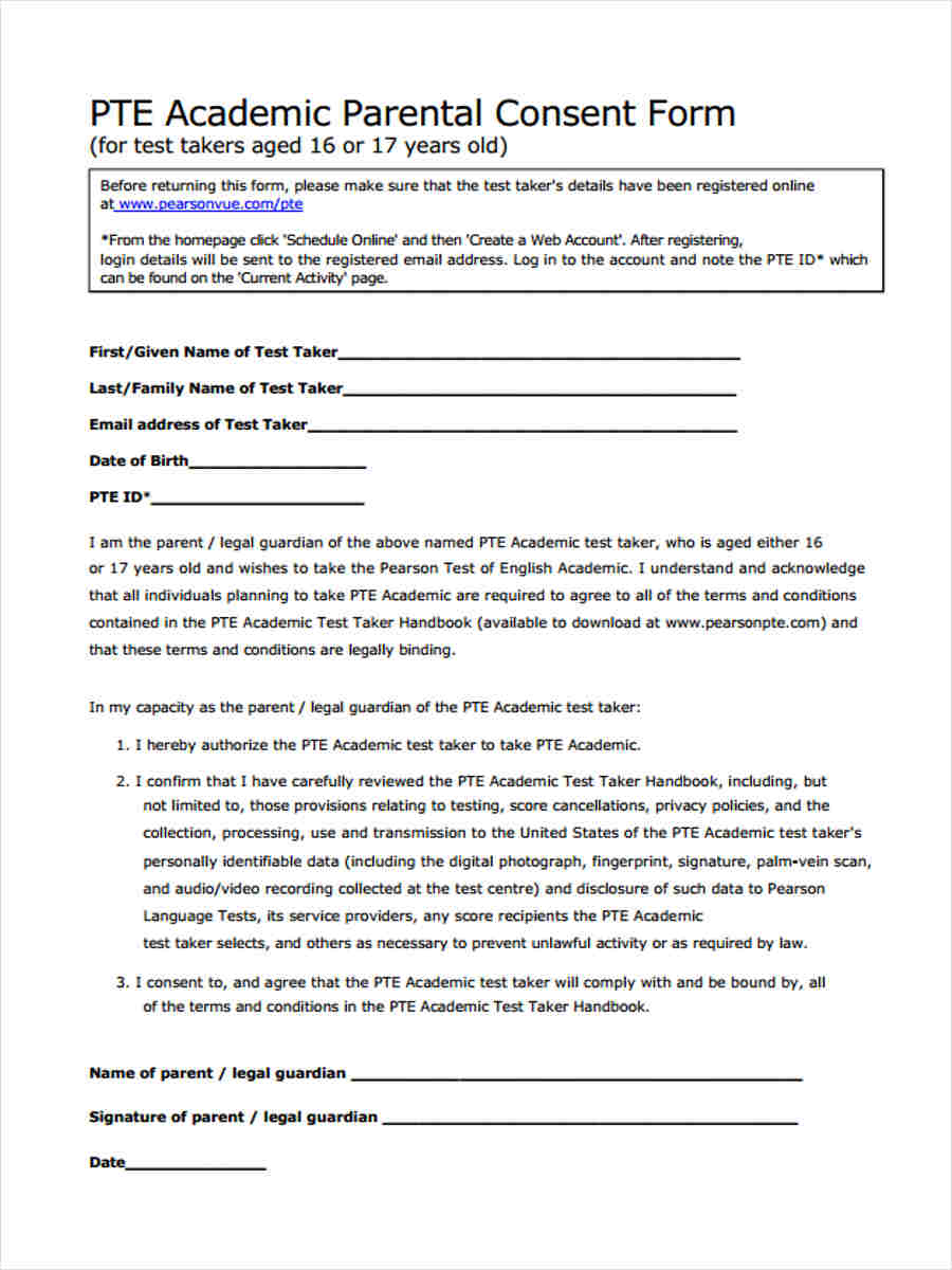academic parental consent form