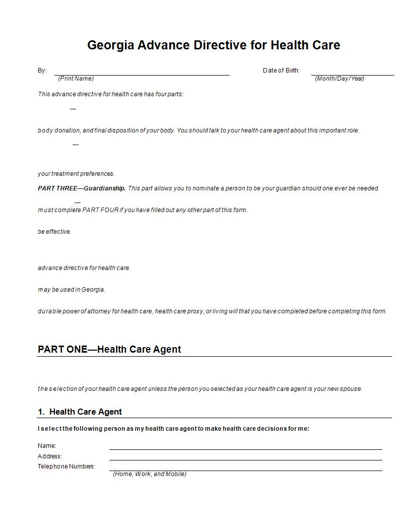 Advance directive forms resume template sample for Advanced directive template
