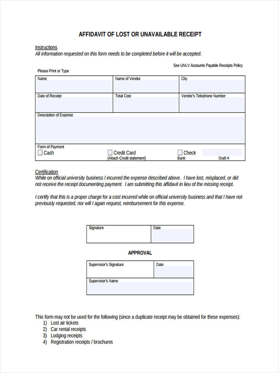 Sample Affidavit Lost Document Form Best Free Home