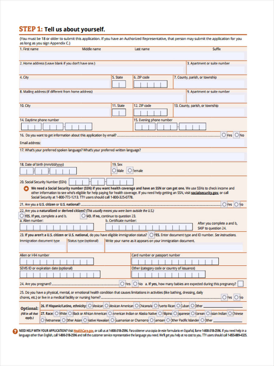 affordable health care form