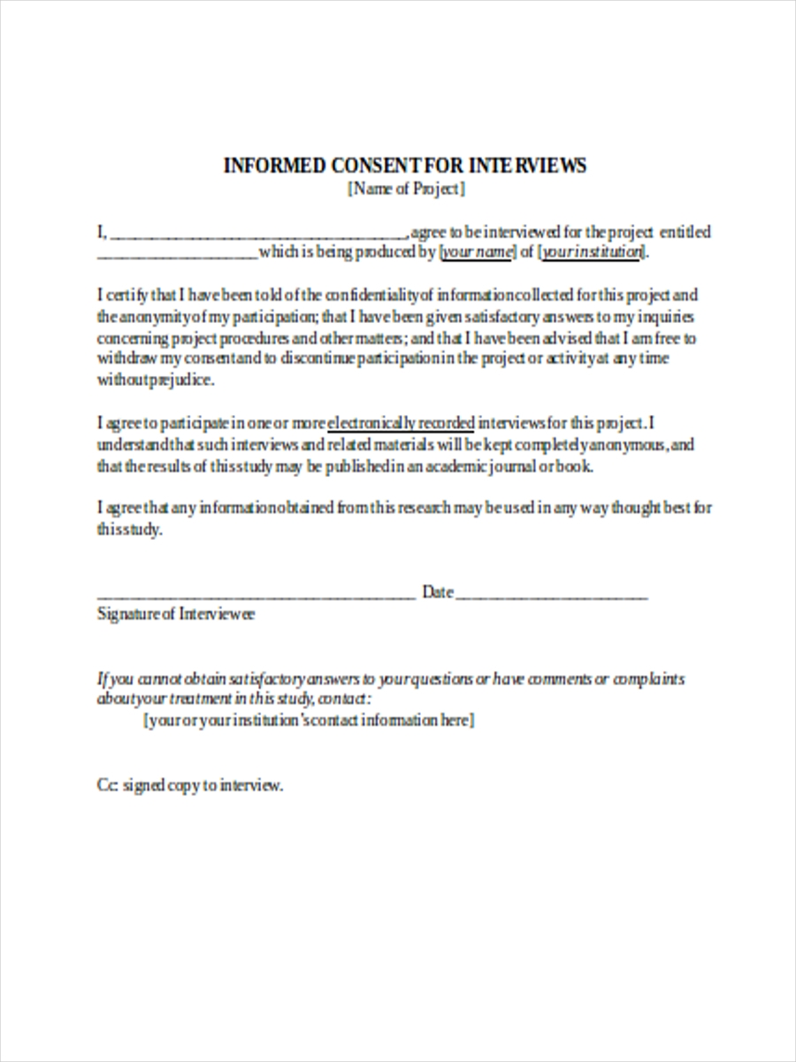agreement to participate interview