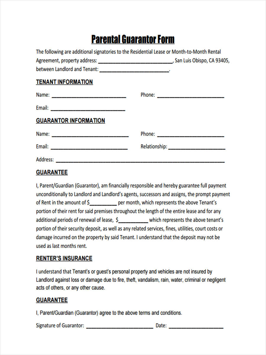 free 8  guarantor agreement forms in samples  examples