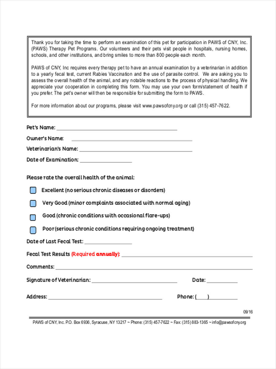 annual health screening form