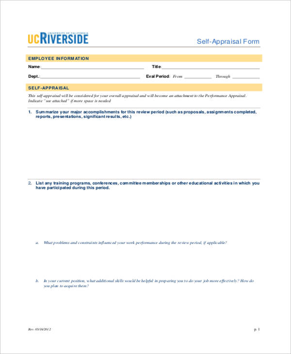 annual review self evaluation form