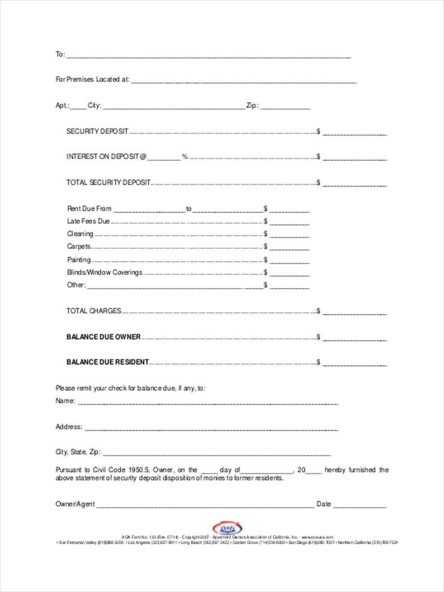 free 7  deposit refund form samples in sample  example  format