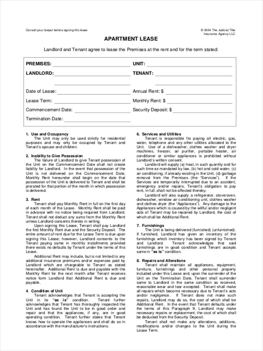 40 Sample Lease Form