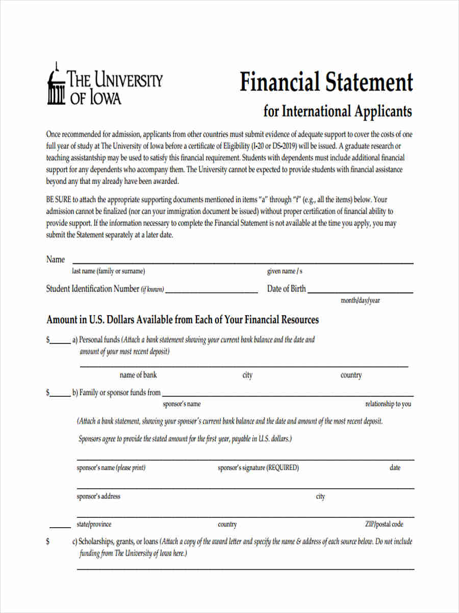 applicant financial statement