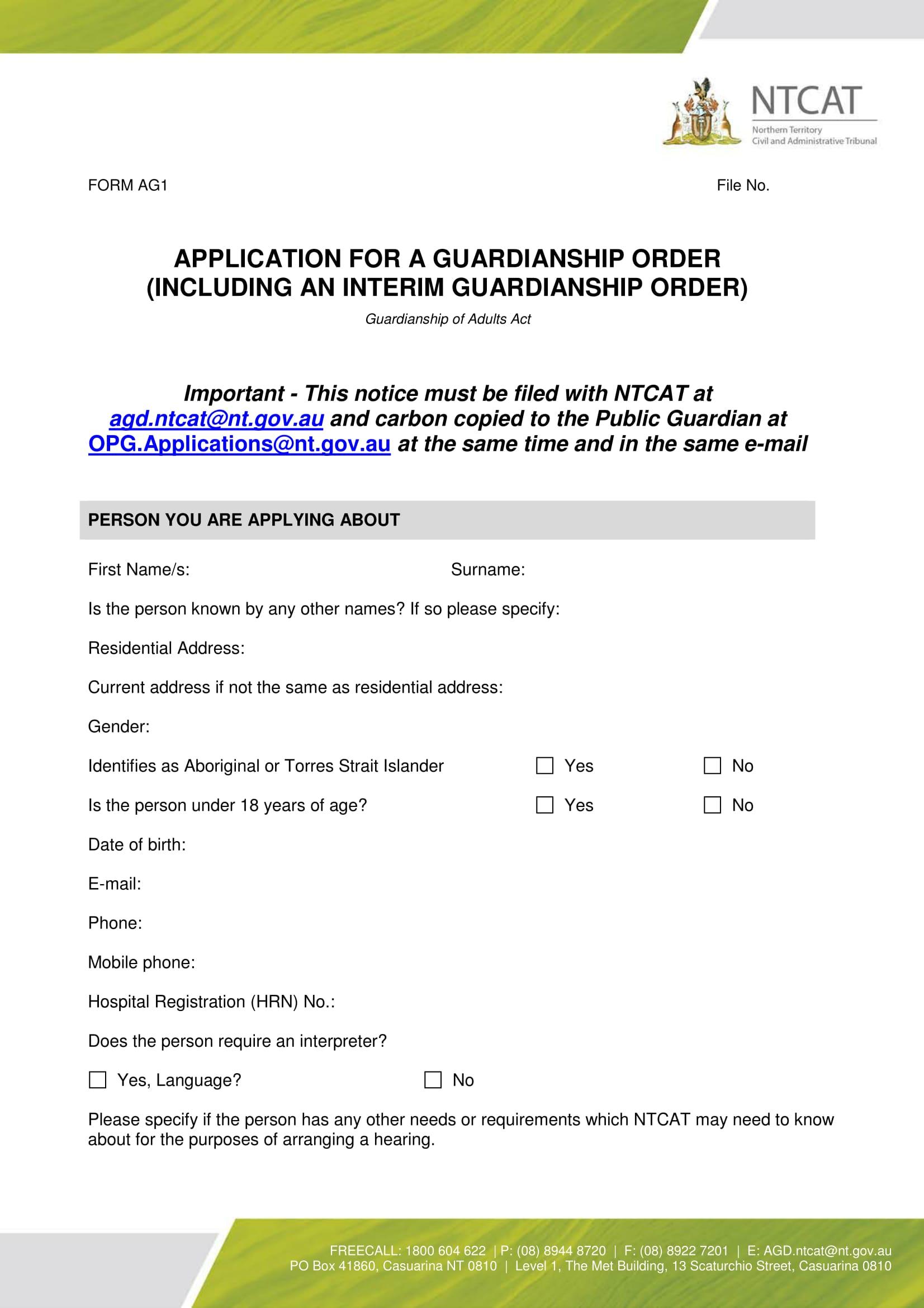 application for guardianship order 01