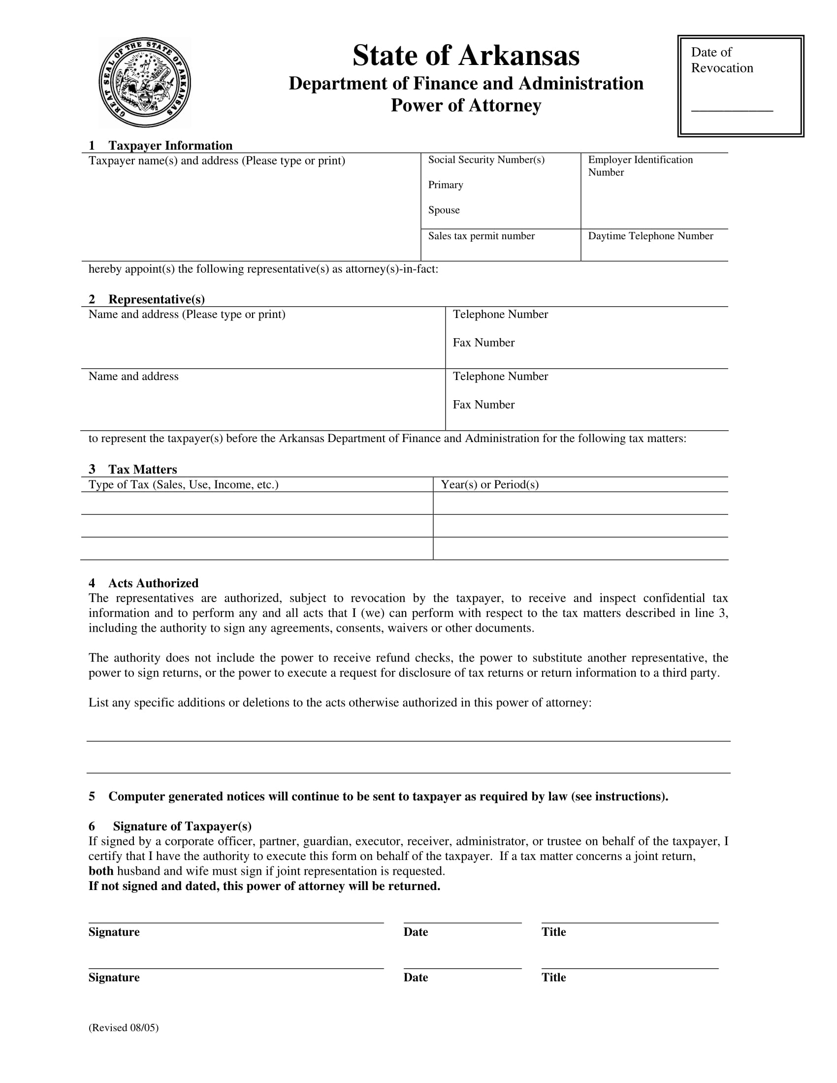 30 power of attorney forms by state arkansas poa 1 falaconquin