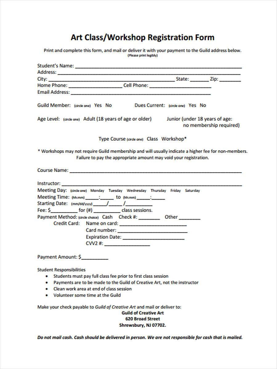 art workshop registration
