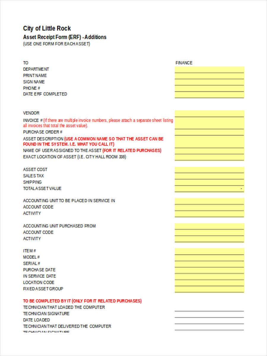 asset receipt forms