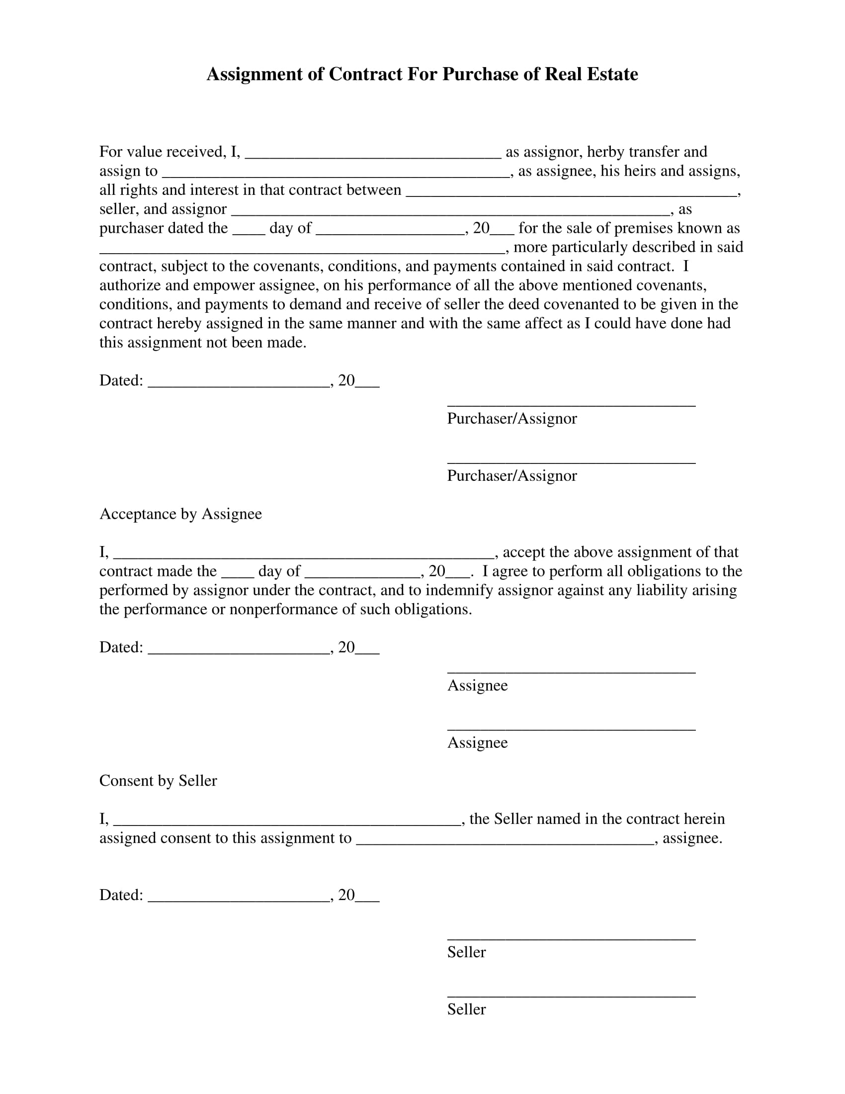 Assignment Of Contract For Purchase Of Real Estate 1