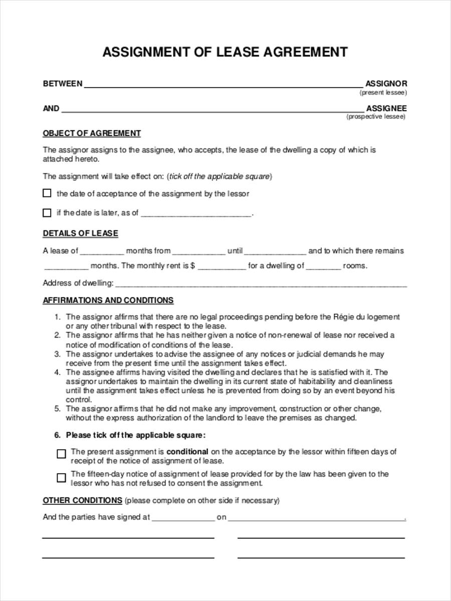 Lovely Lease Assignment Forms