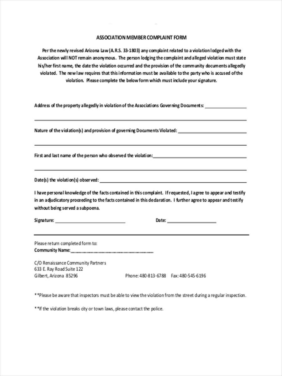 association member complaint