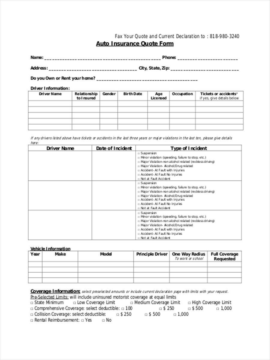 FREE 9+ Insurance Quote Forms in PDF