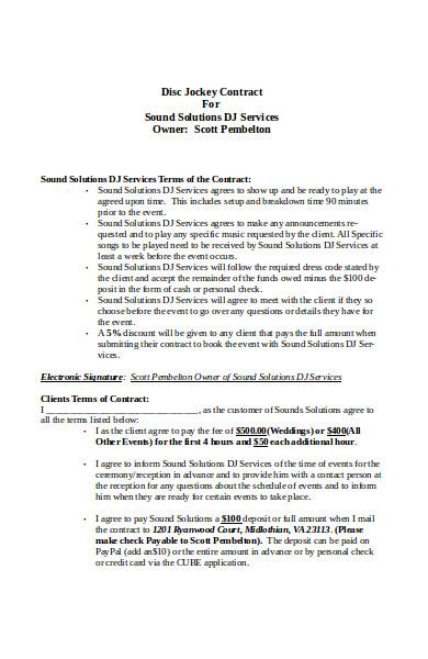 basic dj contract form