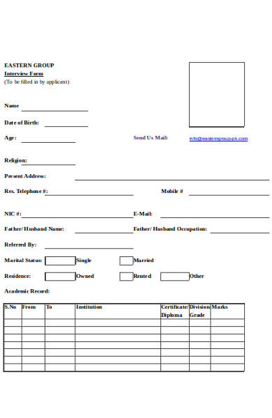 basic interview form