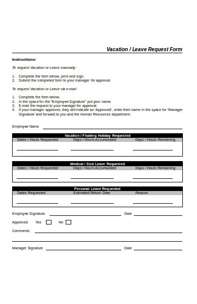 basic leave request form