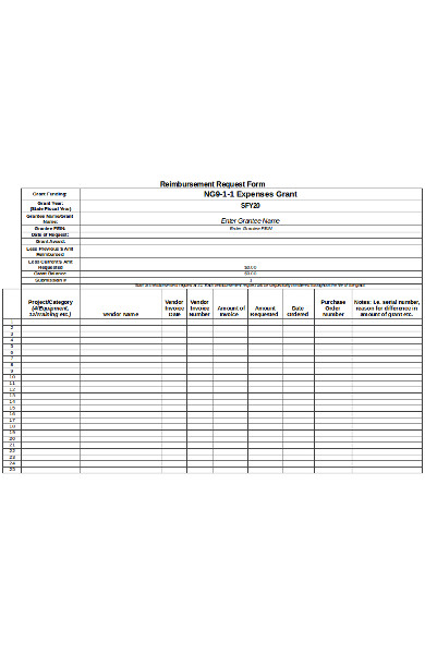 basic reimbursement request form