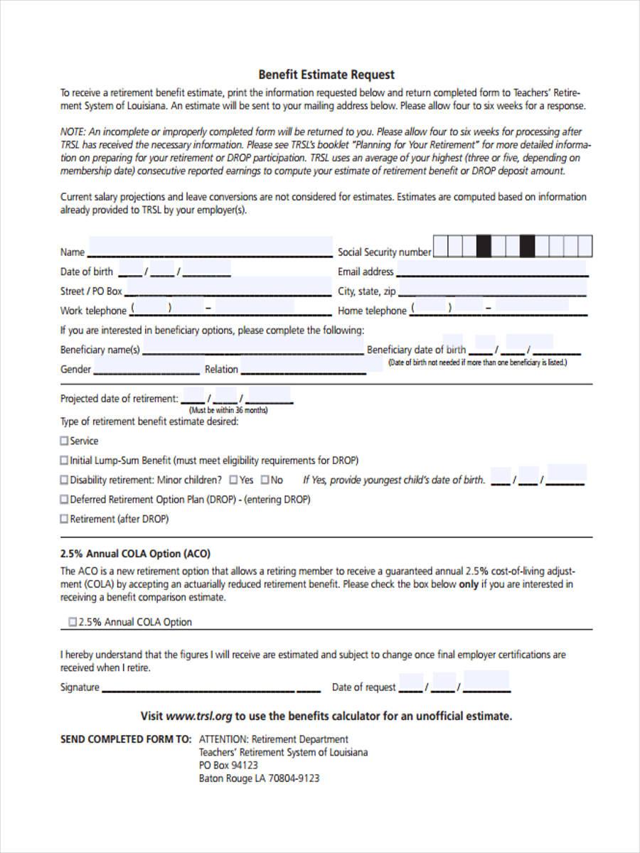 benefit estimate request