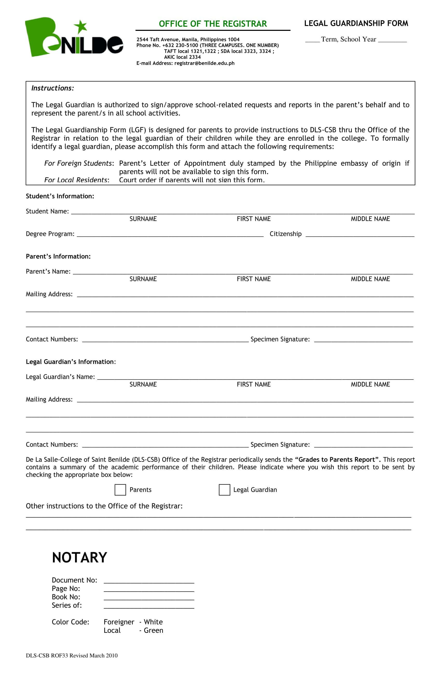 Benilde Legal Guardianship Form 1