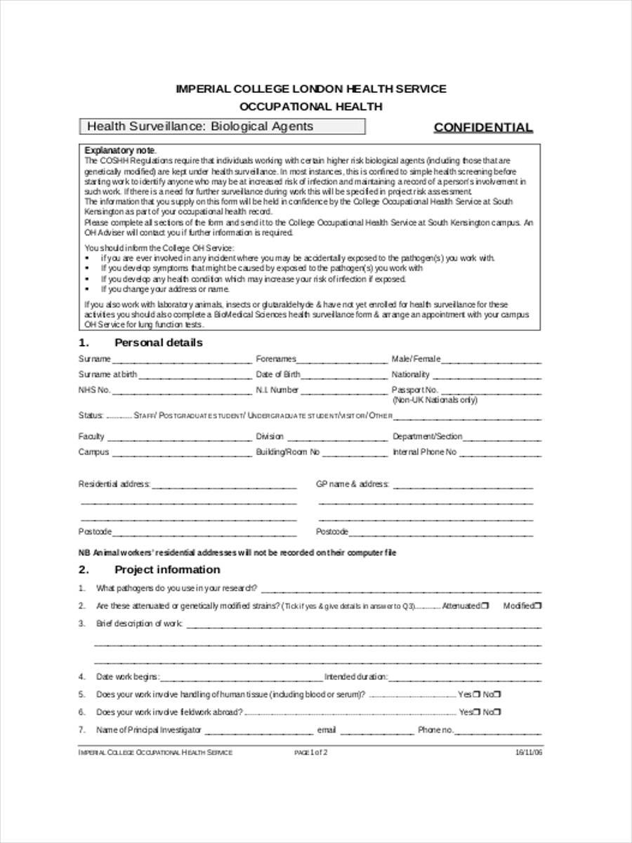 bio medical sciences health surveillance form