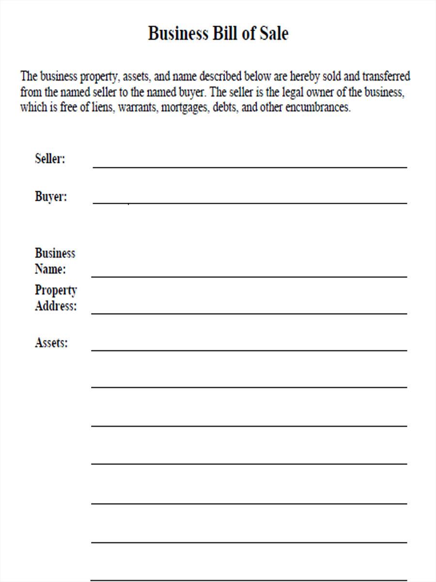 blank business bill of sale