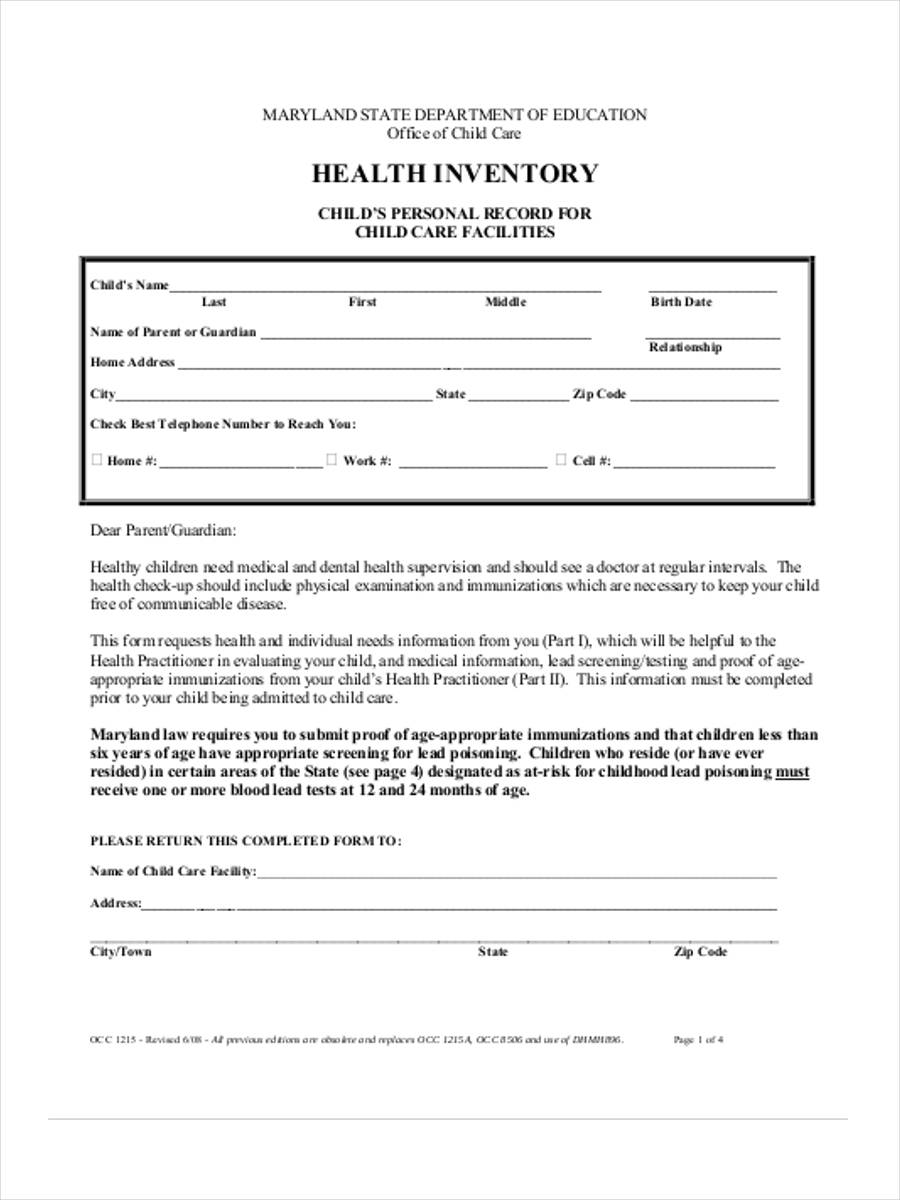 blank health inventory form