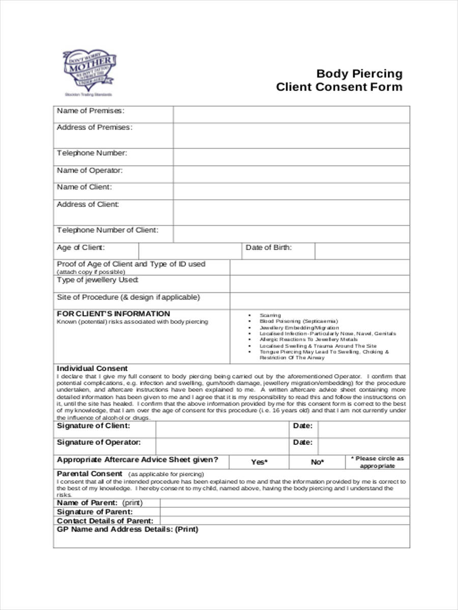body piercing client consent form