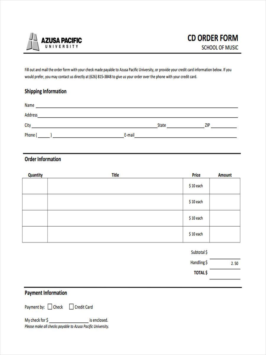 cd order form in pdf