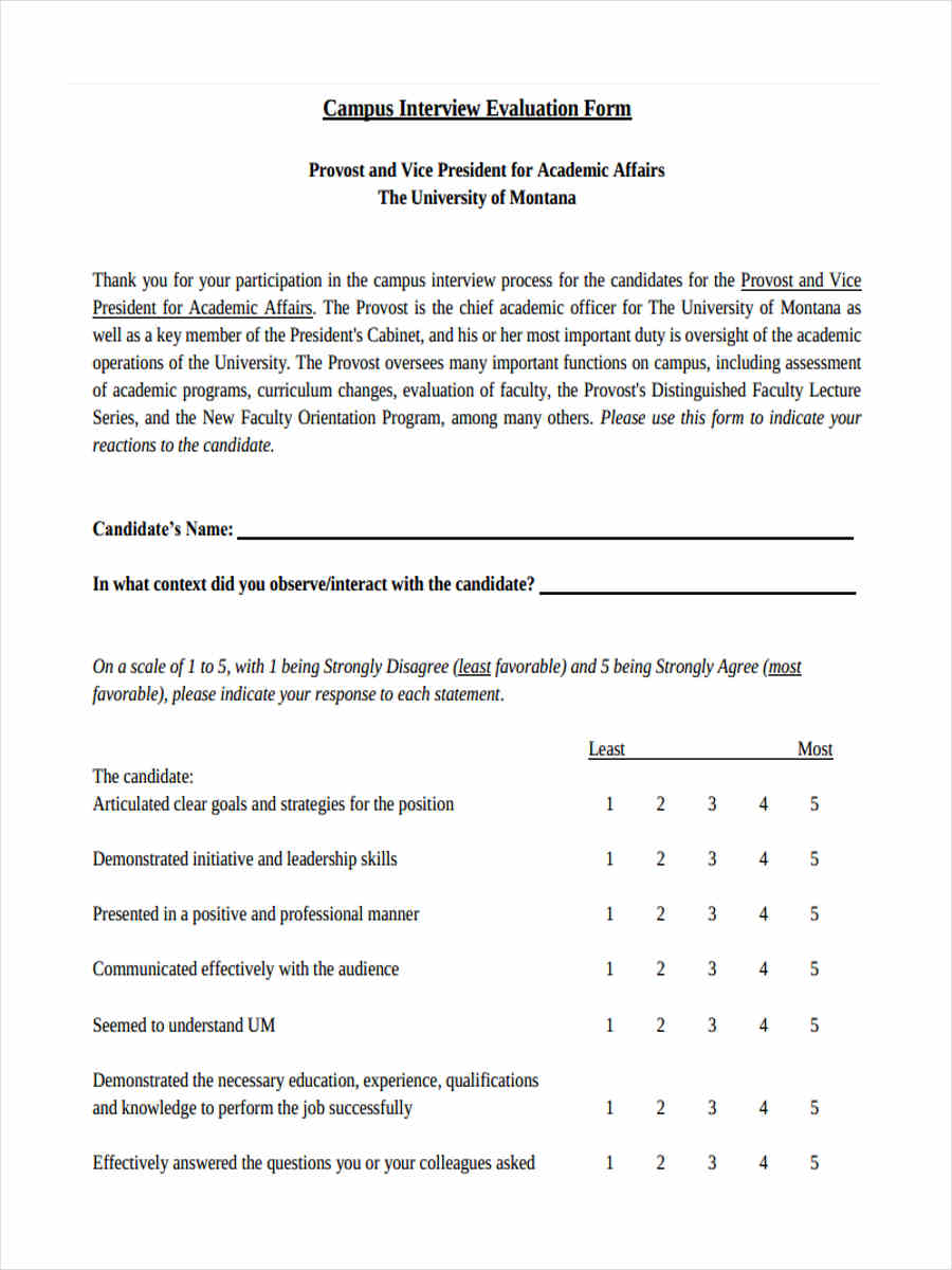campus interview feedback form