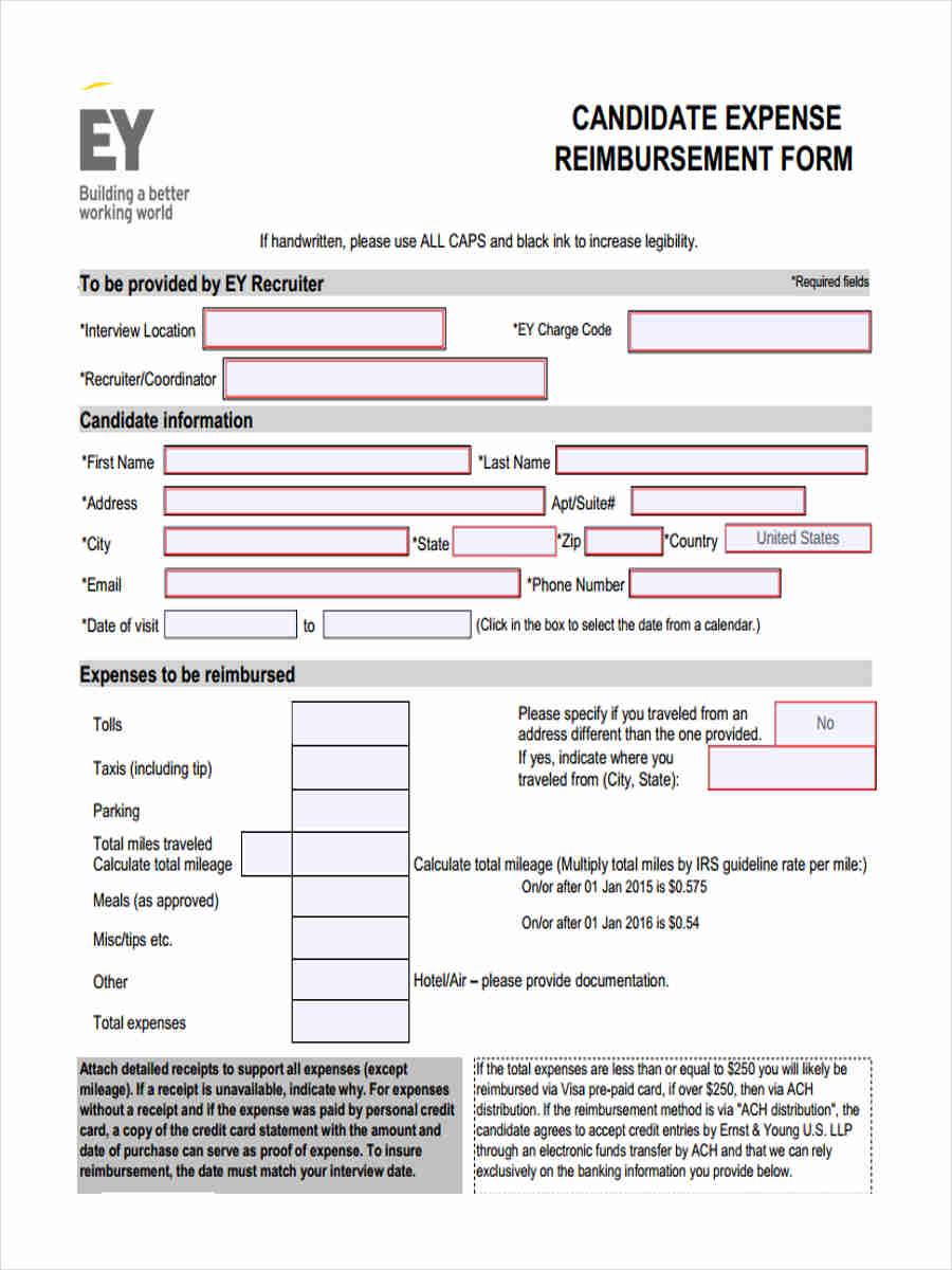 18 expense reimbursement forms in pdf candidate expense reimbursement falaconquin