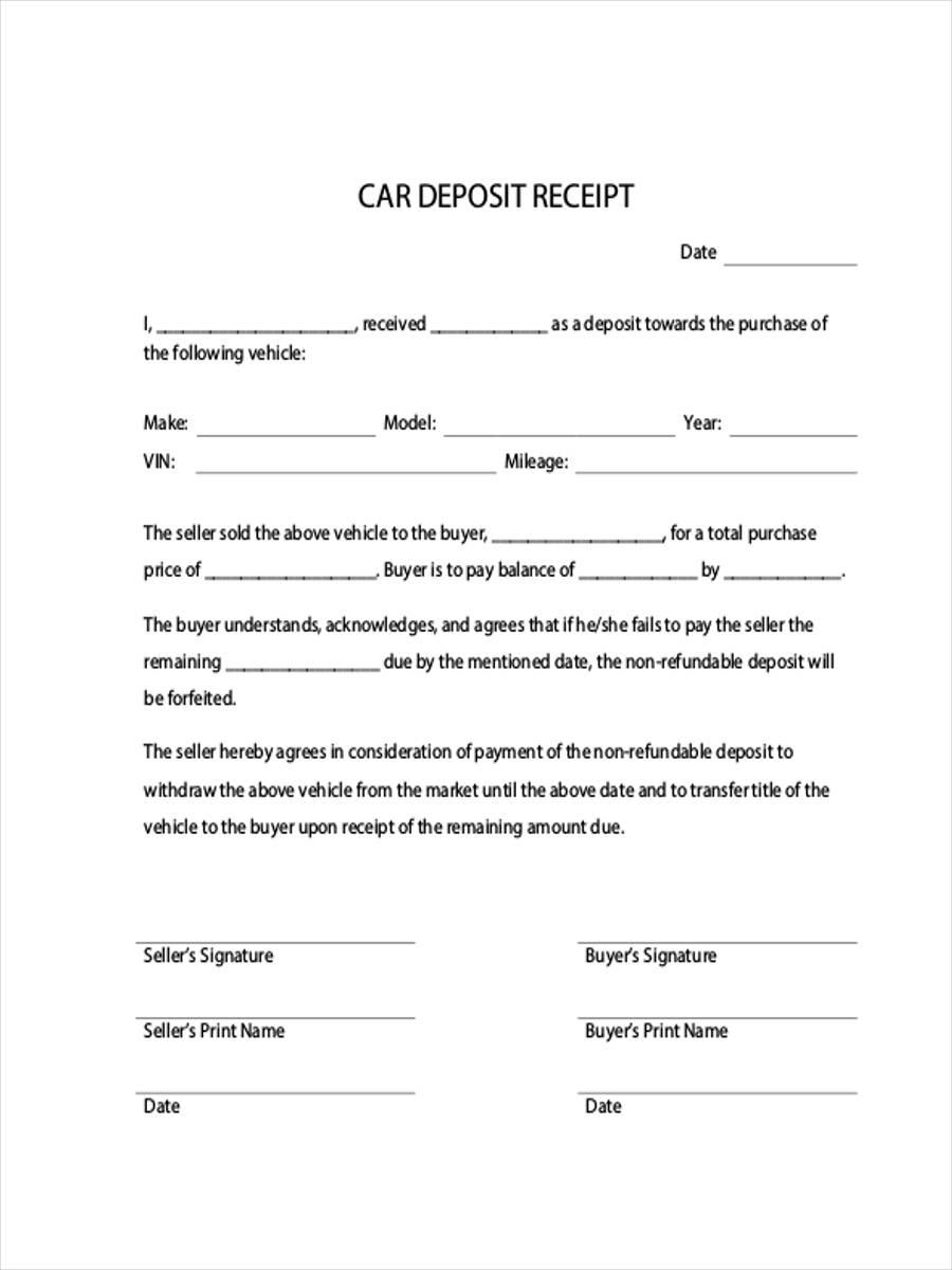 car deposit receipt
