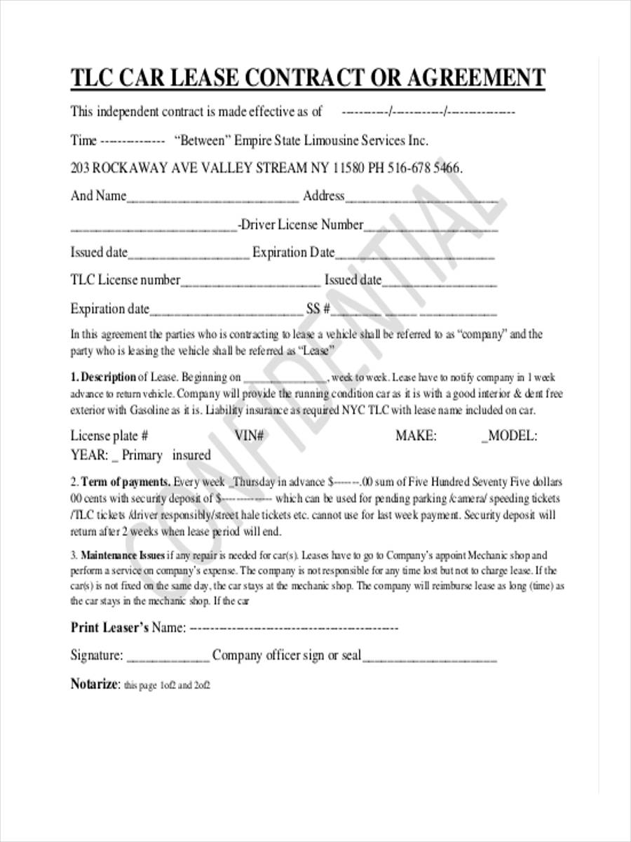 car lease contract form