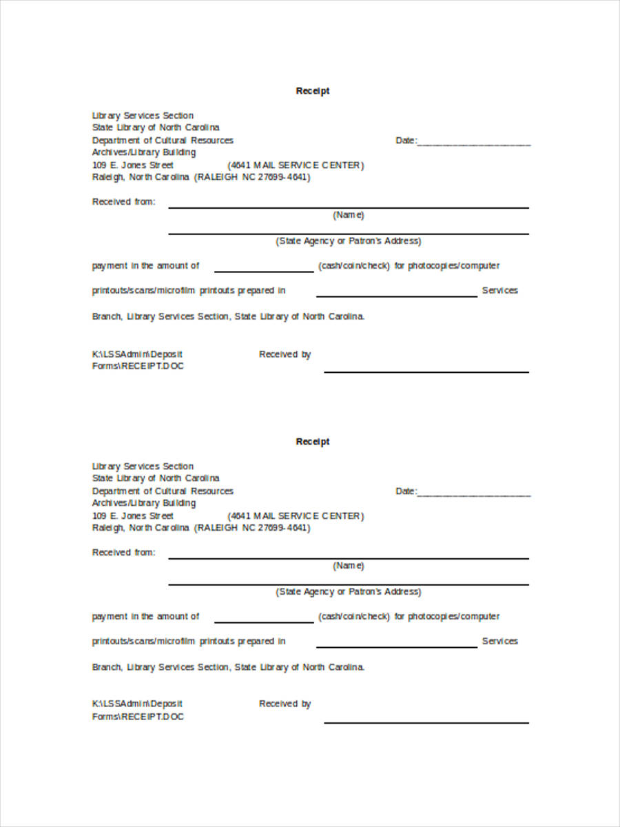 cash receipt deposit form